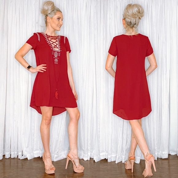 AmandaRSowards Dresses & Skirts - Burgundy Red Oversized Flowy Dress